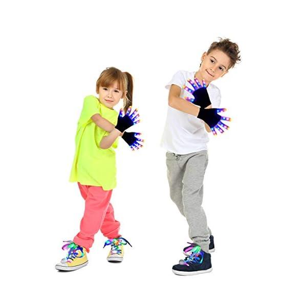 Kids Led Gloves LED Shoelaces Set Light Up Toys for Boys Girls Led Finger Gloves Flashing Gloves for Christmas Thanksgiving Birthday Glow Halloween Costume Party