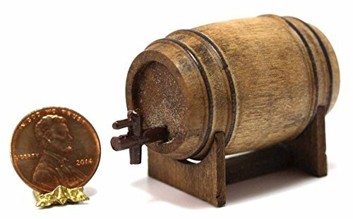 Dollhouse Miniature Aged Beer Barrel w/Spout on Stand by Island Crafts & Miniatures