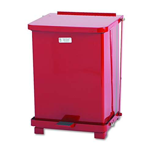 - Rubbermaid Commercial ST7ERDPL Defenders Biohazard Step Can, Square, Steel, 7gal, Red