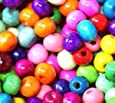 200 Colourful Wooden Round Beads 7Mmfree! Thread For Children* (Ref:5B69)
