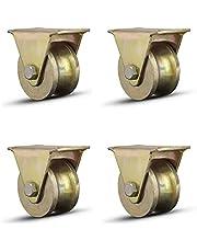 4 stuks U-groef wiel, schuifhek looprol met beugel zware wielen, loopwiel, U-vormige zwenkwielen, transportwielen voor schuifpoorten/industriële machines/fabrieksdeur(Size:2in)