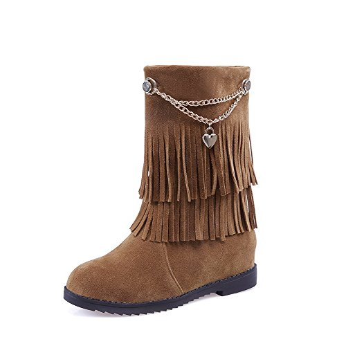 Pull Heels top Frosted Low Kitten WeenFashion Boots on Women's Solid Brown XtqPEnx0