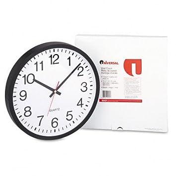 Universal UNV10431 Round Wall Clock 11-1 2 , Black