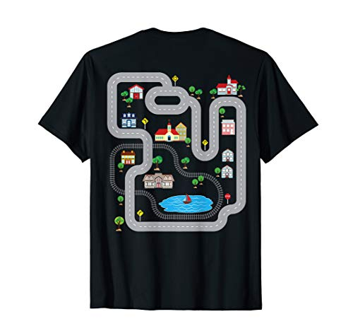 Playmat Train Car Race Track Printed On Back Road T-Shirt