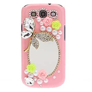 Rhinestone Pearl Crystal Flower Butterfly Mirror Case Cover for Samsung Galaxy S3 I9300 (2 Colors) --- COLOR:White