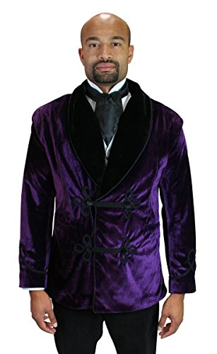 Historical Emporium Men's Vintage Velvet Smoking Jacket 3X Purple by Historical Emporium