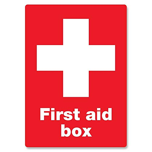 - First Aid Box Vintage Tin Wall Sign Art Iron Painting Retro Metal Plaque Decor Aluminum Warning Signs for Cafe Bar Supermarket Cafeteria Home