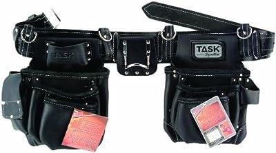 Task Tools T77553 Task Signature Leather 11-Pocket Carpenters Belt, Black