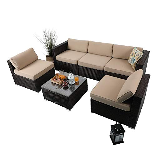 6 Piece Outdoor Furniture Rattan Sofa Conversation Sofa Set Patio Wicker Furniture Set, Beige
