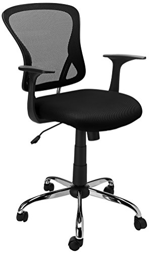 Flash Furniture Mid-Back Black Mesh Swivel Task Chair with Chrome Base and Arms