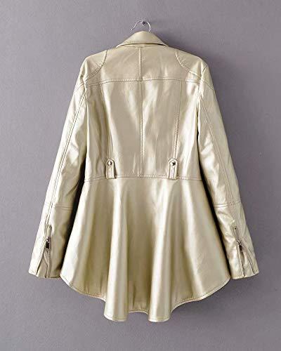 Manica Giubbotto Cerniera Pelle Bavero Con Di Eleganti Lunga Cappotto Donna Oro Irregular Giacca IZqwCwdf
