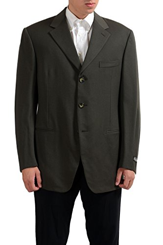 gianfranco-ferre-100-wool-olive-green-three-buttons-mens-blazer-us-44-it-54
