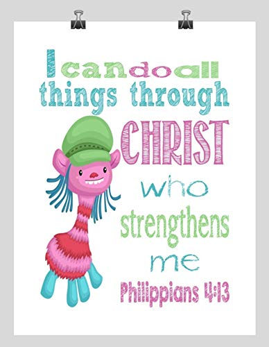 Cooper Trolls Inspirational Nursery Decor Art Print - I Can Do All Things Through Christ Who Strengthens Me - Philippians 4:13
