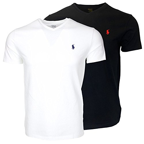 (Polo Ralph Lauren Men's V-Neck T-shirt Bundle (2pk) (X-Large, White/Black))