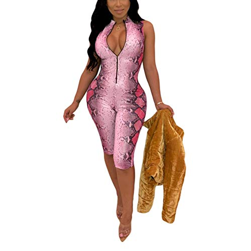 KPBS Women's One Piece Club Outfits Floral Print Sexy Jumpsuits Deep V-Neck Zipper Up Short Jumpsuits Pink ()