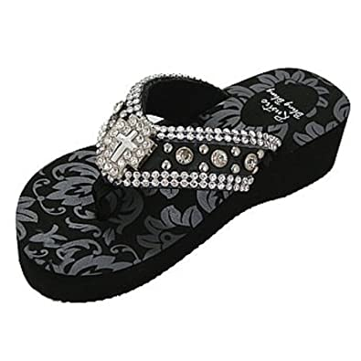 ddc6e3bf15 Rustic Bling Bling Teens and Women's Western Wedge Flip Flop Sandals with Rhinestone  Cross Decor (