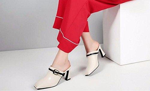 GTVERNH La Las Tacon Cuero Sandalias Elegante Beige Alto Zapatos De Tacones Marea Bruto En Salvaje Mujer De de 8 Cm La Zapatillas de Plaza Moda Baotou La Moda qXCr0qw