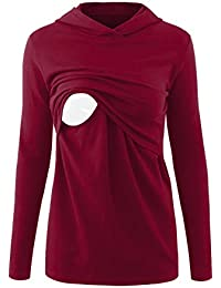 Women's Nursing Hoodie Long Sleeves Casual Top Breastfeeding Clothes