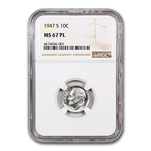 1947 S Roosevelt Dime MS-67 NGC PL Dime MS-67 NGC