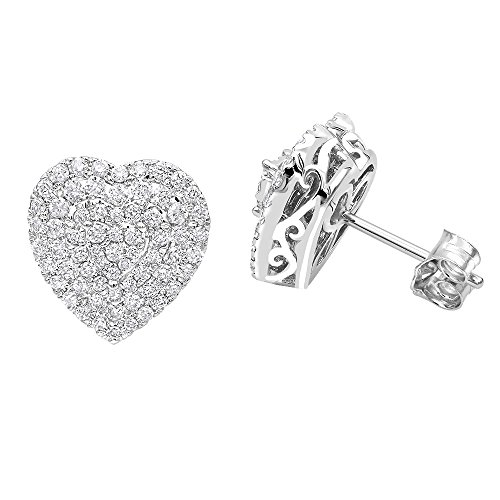 Pave Diamond Heart Earrings (Ladies 14k Rose, White or Yellow Gold Pave Diamond Heart Earrings Diamond Studs 1ctw (White Gold))
