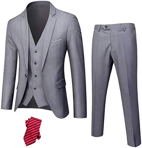 YND Men's Slim Fit 3 Piece Suit, One Button Solid Jacket Vest Pants Set with Tie
