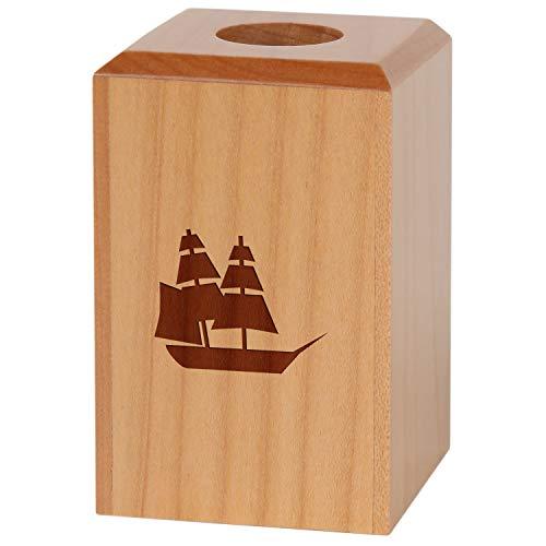 (Pirate Ship Magnetic Paper Clip Holder - Paper Clip Organizer with Laser Engraved Design - Wood Paper Clip Holder Gift)