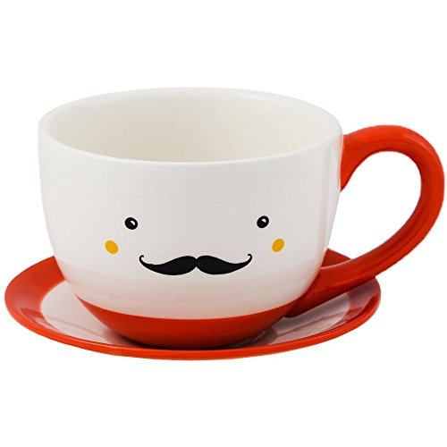 Ivyline Sow the Seed of Happiness Indoor Clive Teacup & Saucer Planter Flower Plant Pot Orange