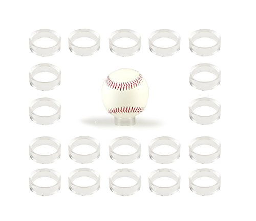 WYN-MART Clear Baseball Stand Holder Rings (20 Pack) Round Acrylic Plastic Display 1.22 inches ()