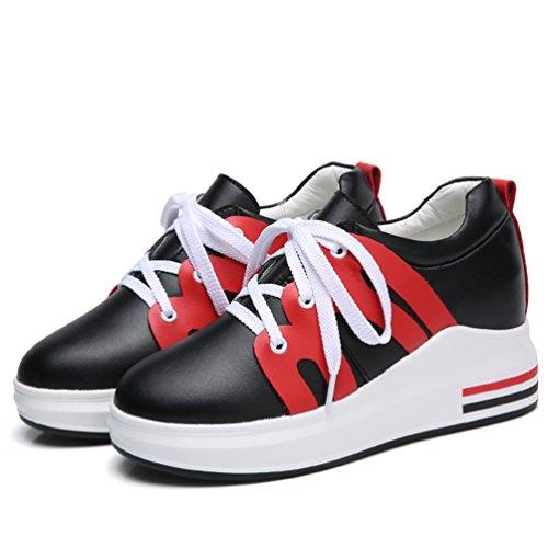 Femme rouge JRenok Athlétique Haute de Antidérapantes noir Baskets Marche 7 Mocassins à Compensé Running Respirant CM Chaussures Sneakers rXTqXt