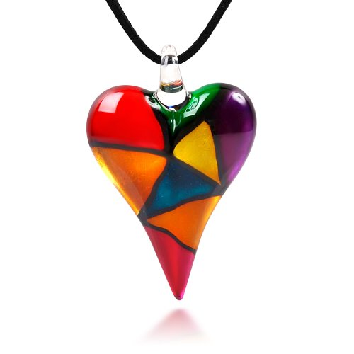 Chuvora Hand Blown Venetian Murano Glass Multi-Colored Mosaic Design Heart Pendant Necklace, 18-20 inches