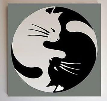 Gatos (Yin y yang - Tao chino) marco moderno decorativo - cuadro pintado a mano - Artista fratta (tamaño 40 x 40 cm): Amazon.es: Hogar