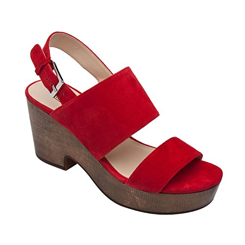 Patent Look Slingback - PIC/PAY Imelda | Women's Slingback Wood Platform Leather Suede Sandal Comfortable Clog Red Suede 9M