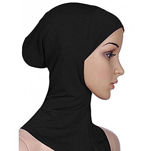 PanDaDa Women Cotton Full Cover Inner Hijab Caps Black 43X45cm