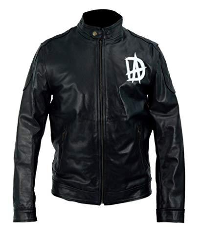 Halloween Costumes Mens WWE Dean Ambrose Logo Black Genuine Leather Jacket- 5XL -