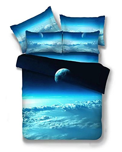 4 Pic 100% Cotton Queen Galaxy Bedding Set Duvet Cover Fitted Sheet Pillowcase Space Print for Bedding