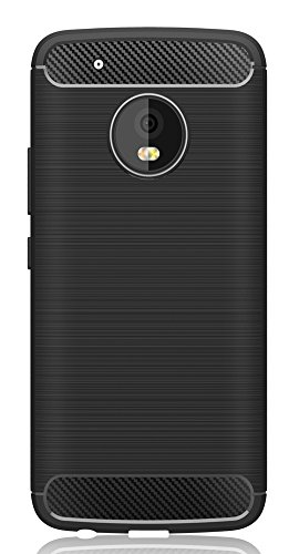 Moto G5 Plus Case , Yocco Soft Silicon Shockproof Luxury Brushed Case with Texture Carbon Fiber Design Protection Cover for Motorola Moto G5 Plus 2017 Smartphone (Black)