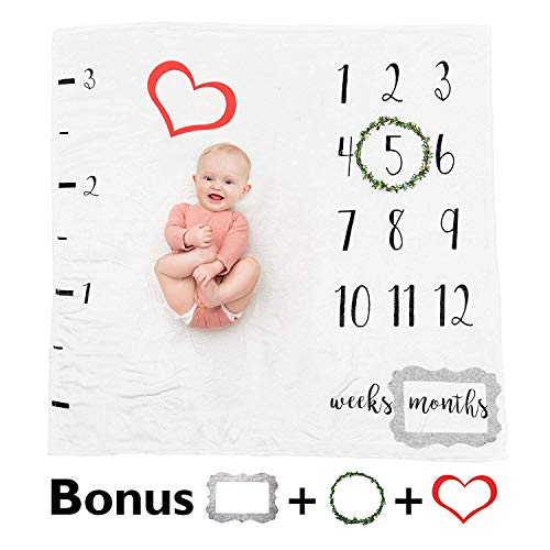 Premium Baby Monthly Milestone Blanket - Soft Fleece Blanket Photography Backdrop | Watch Your New Baby Girl or Baby Boy Grow | Frames & Wreath Included - Best Baby Shower -