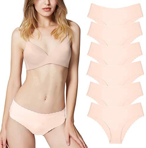 Donpapa Womens Underwear Panties Invisible Hipster Seamless Bikini Half Back Coverage Lingerie(6 Beige L)