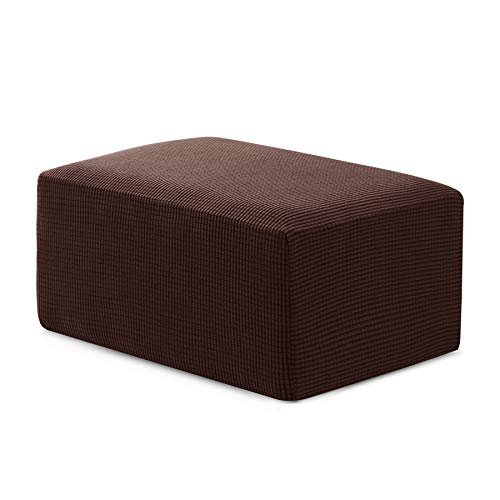 Hokway Ottoman Slipcovers Stretch Fabric Footrest Sofa Slipcovers Footstool Covers Storage Ottoman Protector Covers(Chocolate, ()