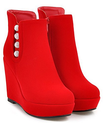 IDIFU Womens Sexy Rhinestones Platform High Wedge Heels Side Zip Up Ankle Boots Short Booties Red cYC1r