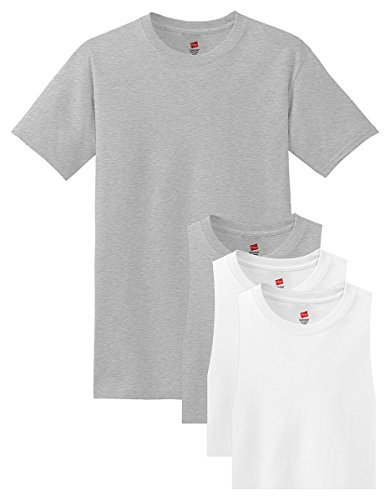 Price comparison product image Hanes mens 5.2 oz. ComfortSoft Cotton T-Shirt(5280)-Light Steel / White-S-2PK