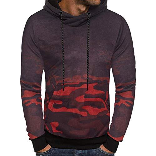 (NRUTUP Camouflage Hoodie Sweatshirt Men's Long Sleeve Hooded Fashion Warm Top Tee Autumn Winter Outwear New 2018 Blouse (Red,)