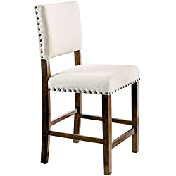 HOMES: Inside + Out IDF-3018PC Lovo Counter-Height Chair Brown Cherry (Set of 2)