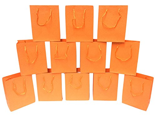Style Design (TM) Dozen Gift Bags - 12 Beautiful Gift Bags for Presents, Parties or Any Occasion - Solid Color with UV Dots (Large, Orange)