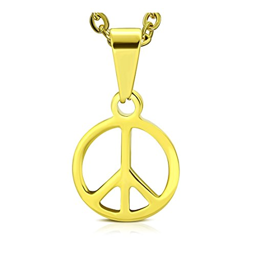 Stainless Steel Gold Color Plated Peace Sign Charm Pendant