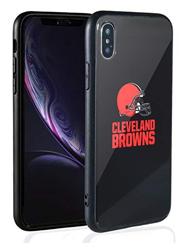 Sportula NFL Phone Case - 9H Tempered Glass Back Cover and Silicone Rubber Bumper Frame Compatible Apple iPhone X/iPhone Xs (Cleveland Browns)