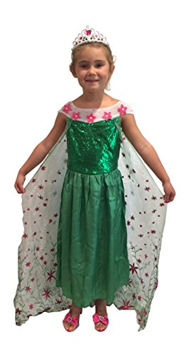 New Elsa Frozen Fever Deluxe Full Length Gown Glittering Flower Cape