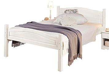 Loft24 Brooklyn Bett Bettgestell Einzelbett Kinderbett Jugendbett Holzbett  Landhaus Kiefer Massivholz (weiß, 90 X