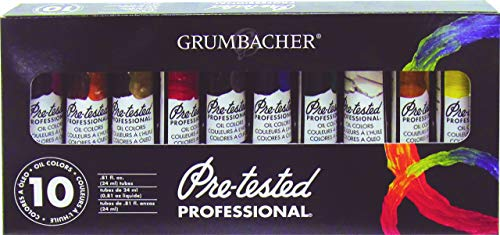 Grumbacher Pre-Tested Oil Paint, 24ml/0.81 oz Tube, 10-Color Set (P1030G)