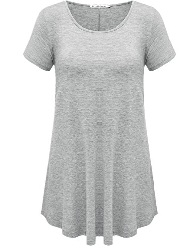 (JollieLovin Women's Short Sleeve Loose Fit Flare Hem T Shirt Tunic Top (Heather Gray, L))